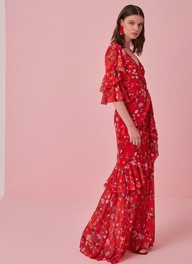 morhipo x dcey Volan Detaylı Çiçekli Elbise Kırmızı